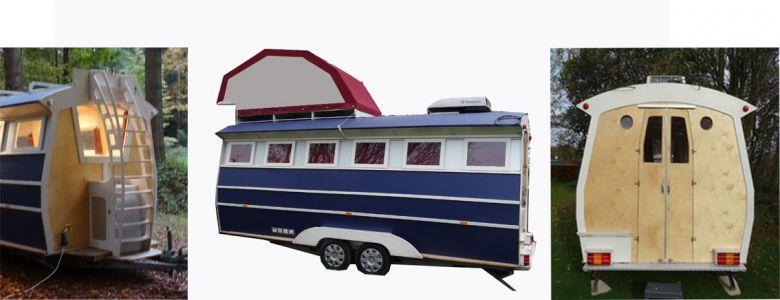 Slaapgedeelte voor op een zelf gemaakte caravan